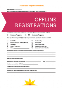 Offline registrations for ACCF fundraising