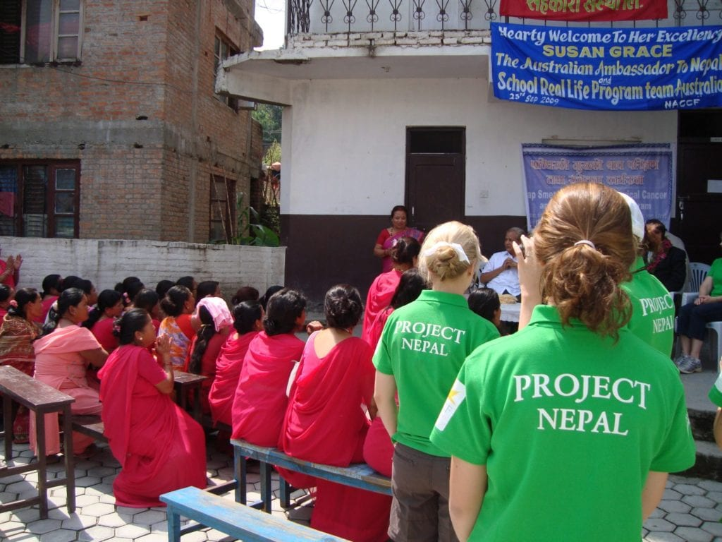 Annabelle with peers on Real Life Challenge ACCF Project Nepal