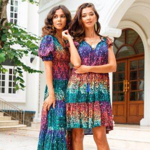 Natasha Gan Samatha Midi dress in rainbow print